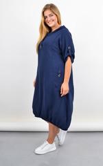 Алегра. Літнє спортивне плаття з капюшоном великого розміру. Синій.