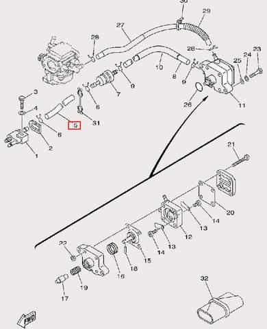 Трубка топливная Φ5×Φ10×295 для лодочного мотора F9,9 Sea-PRO (9-5)