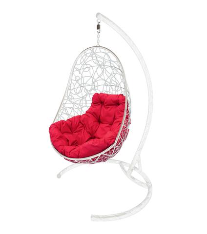 Кресло подвесное Parma white/crimson