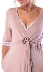 Евромама. Комплект халат и сорочка с кружевом из вискозы, сухая роза 4