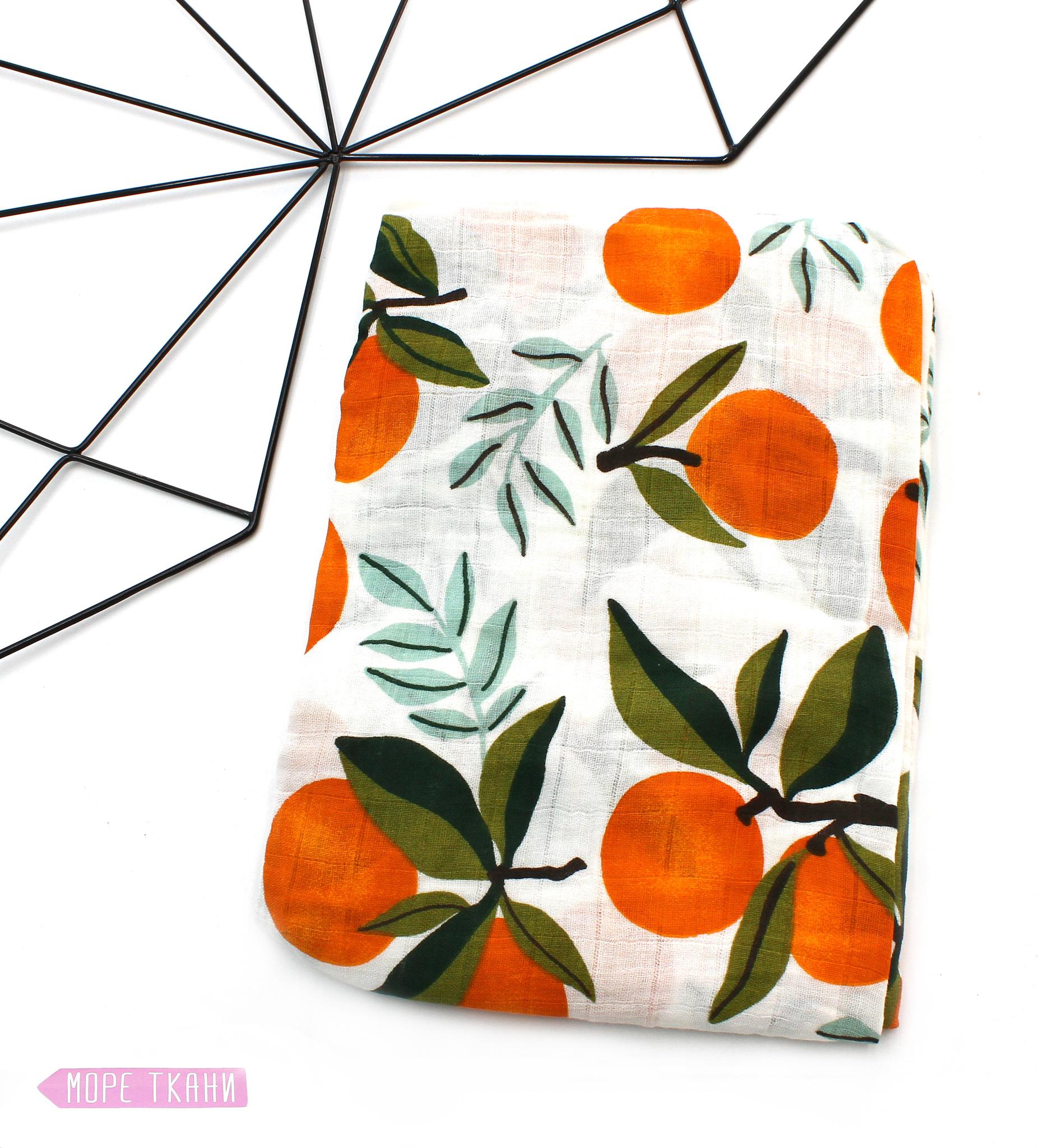 Муслиновая пеленка-апельсины(115х115см)