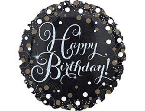 Фольгированный шар Happy Birthday черный