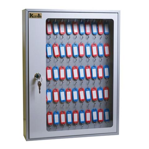 Шкаф для ключей Klesto SKB-65 на 65 ключа, серый, металл/стекло