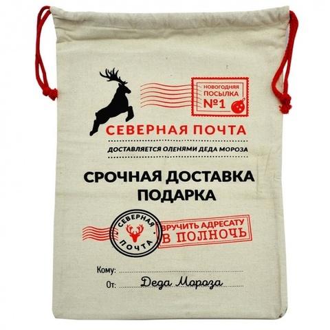 Подарочный мешок Деда Мороза Северная почта (45х60 см)