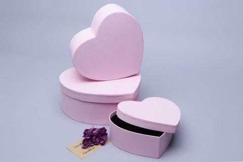 Коробка Сердце набор из 3 шт. 22х20х9 см, цвет: розовый