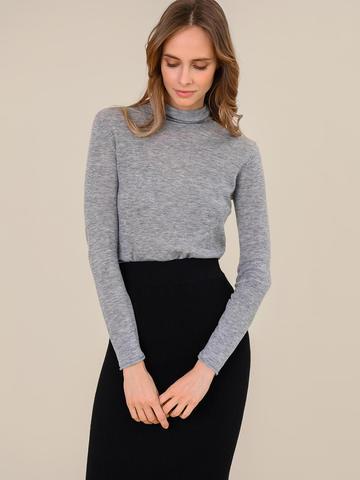 Женская водолазка цвета серый меланж из 100% шерсти - фото 2
