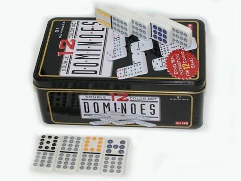 Домино двойной набор.  В наборе содержатся все возможные пары чисел от 0 до 12, что в целом дает 91 «фишку». :(S-212):