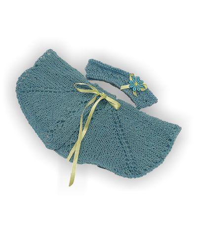 Вязаное пончо - Бирюзовый. Одежда для кукол, пупсов и мягких игрушек.