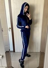 Діаз. Молодіжний прогулянковий велюровий костюм. Синій