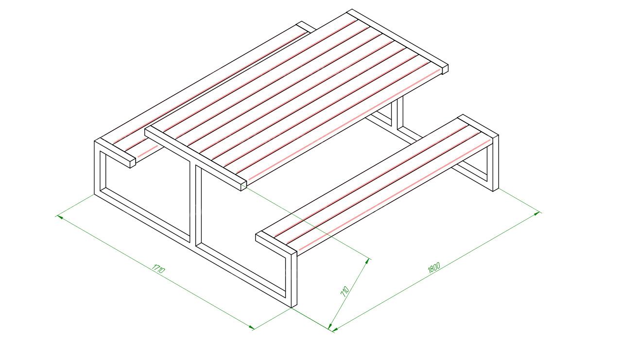 Скамейка со столом SCAM0088