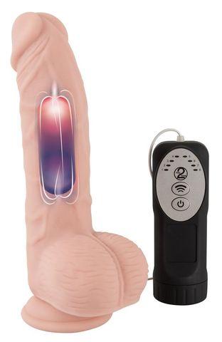 Телесный вибратор-реалистик Medical Silicone Pulsating Vibrator - 20 см.