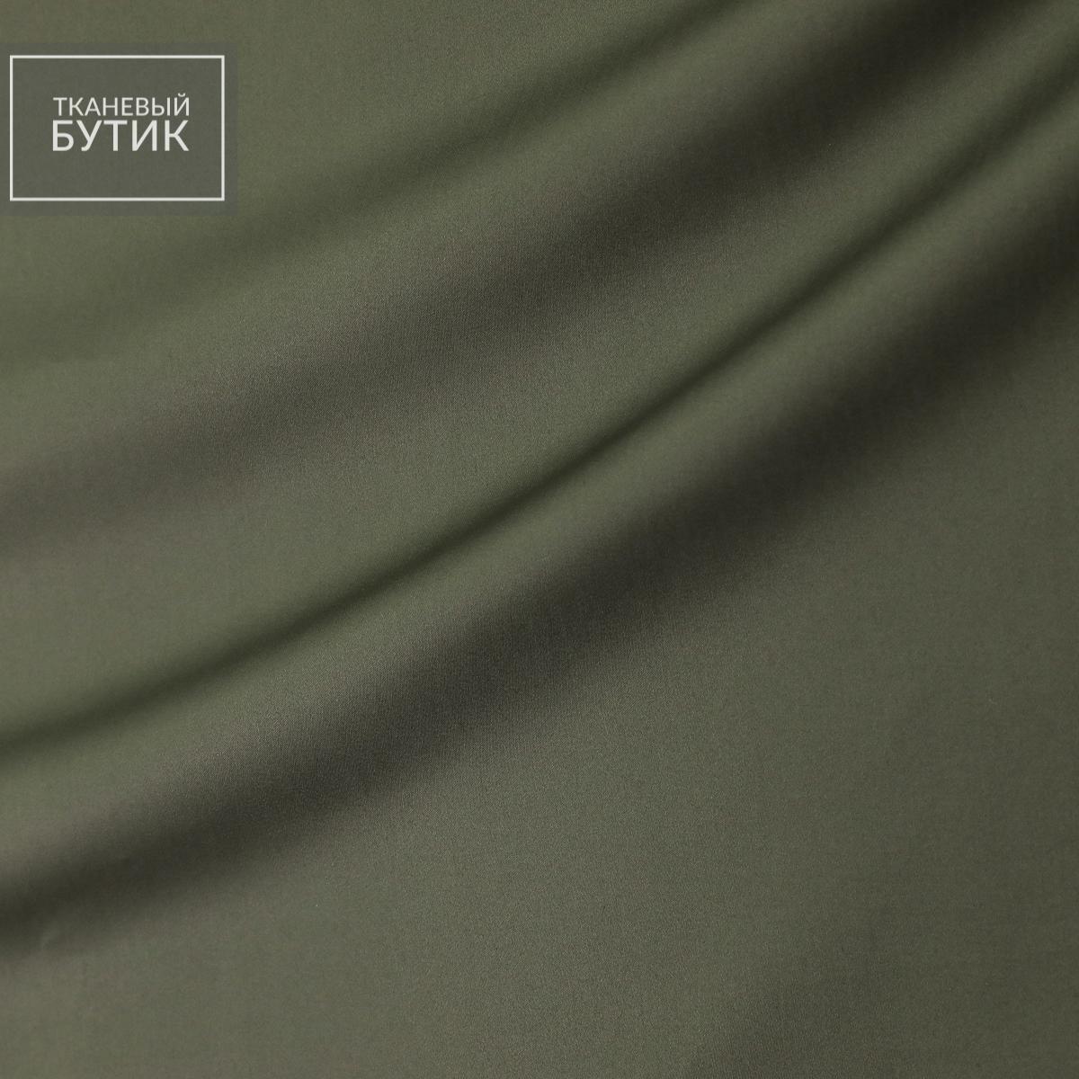 Тонкой хлопковый сатин с эластаном цвета зеленоватой умбры