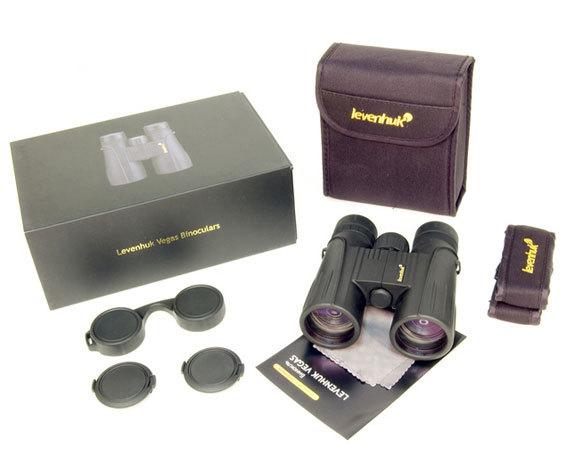 Комплект бинокль Levenhuk Vegas 8 42, темно-серый