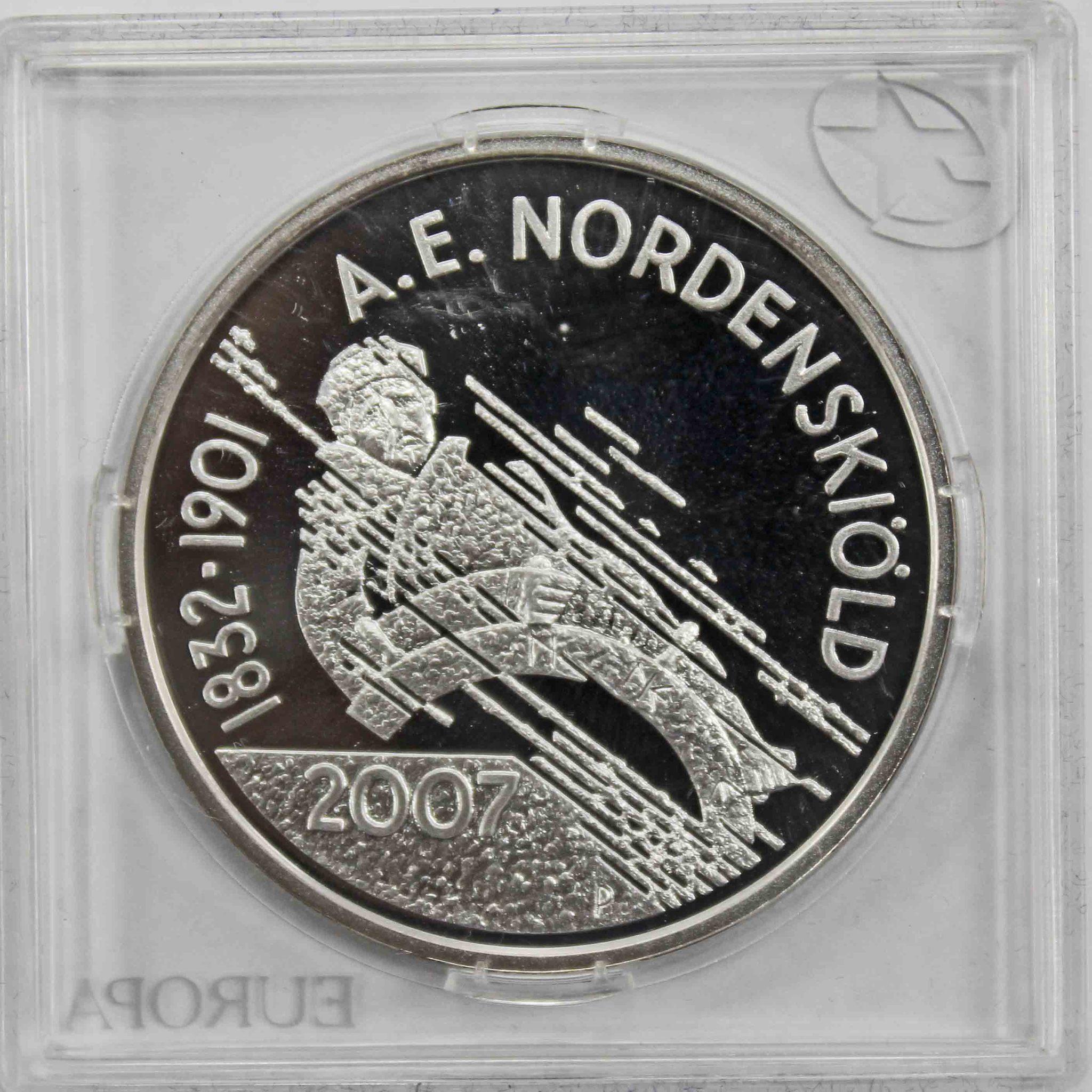 10 евро. 175 лет со дня рождения Адольфа Эрика Норденшёльда. Финляндия. 2007 год. Серебро. PROOF