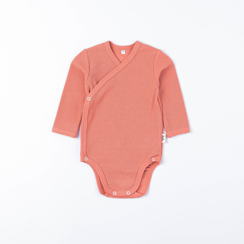 Ribbed long-sleeved kimono bodysuit 0+, Coral