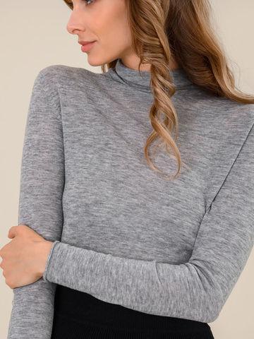 Женская водолазка цвета серый меланж из 100% шерсти - фото 3