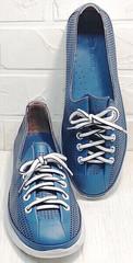 Летние женские кроссовки кожаные кеды с перфорацией кэжуал стайл Wollen P029-2096-24 Blue White.