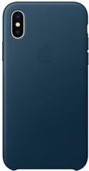 Клип-кейс Apple Leather Case для iPhone X (космический синий)