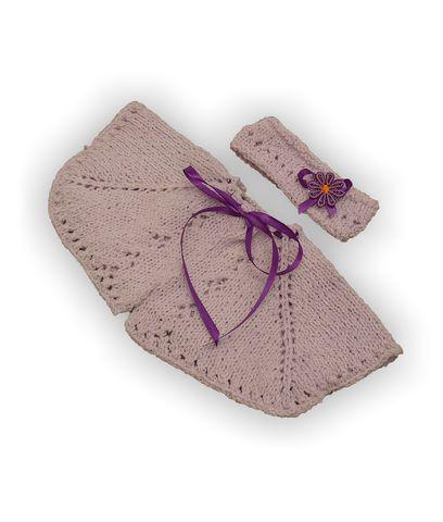 Вязаное пончо - Сиреневый. Одежда для кукол, пупсов и мягких игрушек.