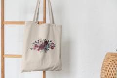 Сумка-шоппер с принтом Цветы (Розы) бежевая 009