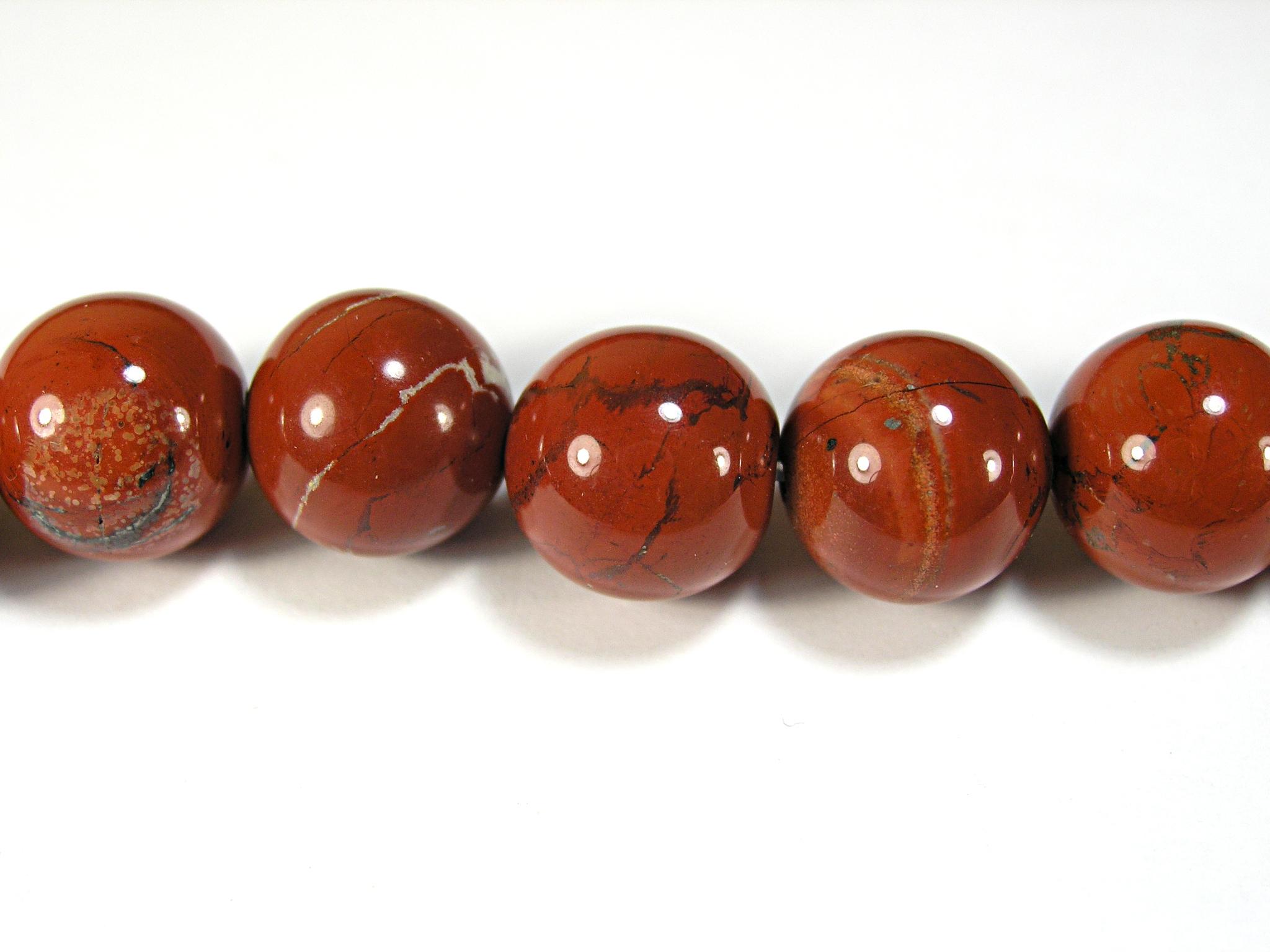 Бусина из яшмы красной, шар гладкий 12мм