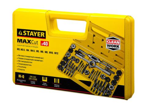 STAYER MaxCut 40 предметов, набор метчиков и плашек, инструментальная сталь