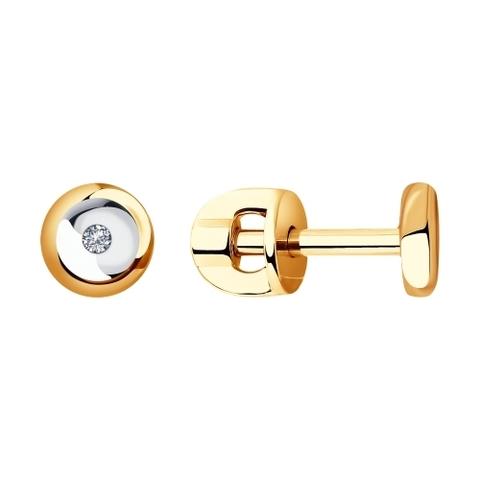 1021382- Серьги-пусеты из золота с бриллиантами