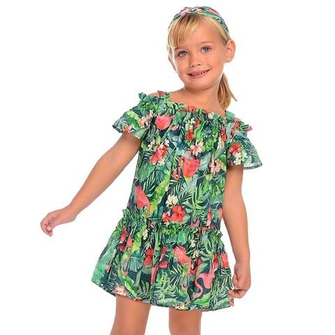 Платье Mayoral Фламинго с открытыми плечами
