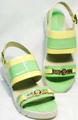 Модные женские сандали натуральная кожа Crisma 784 Yellow Green.