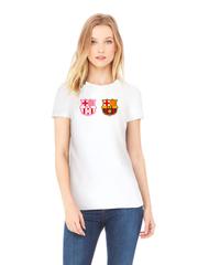 Футболка с принтом FC Barcelona (ФК Барселона) белая w003