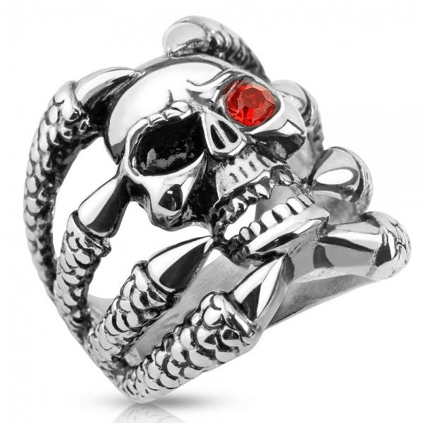 Необычный брутальный зловещий широкий перстень оберег