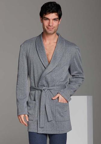 Короткий мужской халат-жакет в елочку