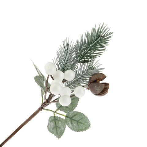 Ветка еловая с ягодами белыми искусств. 20см