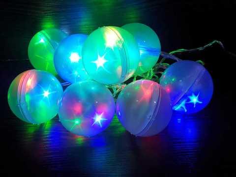 Гирлянда светодиодная мерцающие шарики 8шт.