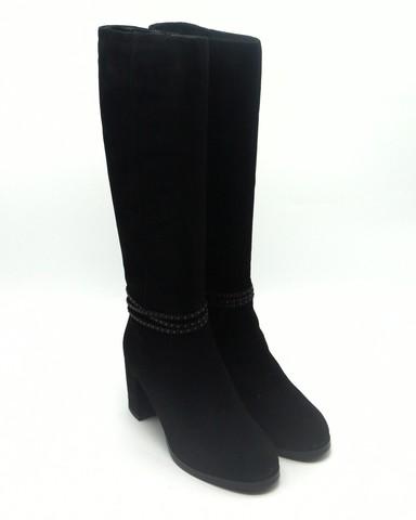 474ц Сапоги еврозима черн натур велюр.С декором на каблуке и щиколотке