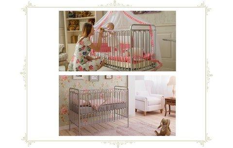 Кроватка детская Polini kids Vintage 150 металлическая, бирюзовый
