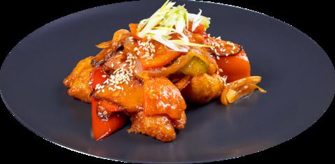 Курица в кисло-сладком соусе с овощами