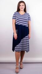 Коллаж лето. Трикотажное платье плюс сайз. Синий.