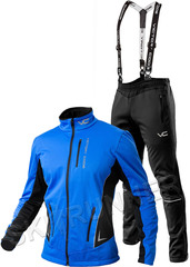 Утеплённый лыжный костюм 905 Victory Code Speed Up Blue A2 с лямками мужской