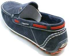 Летние туфли с перфорацией мокасины для мужчин Faber 142213-7 Navy Blue.