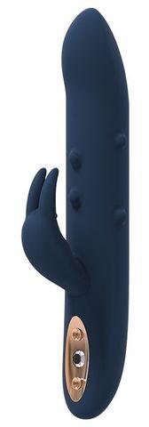 Синий вибромассажер-кролик ALPHEUS - 23 см.