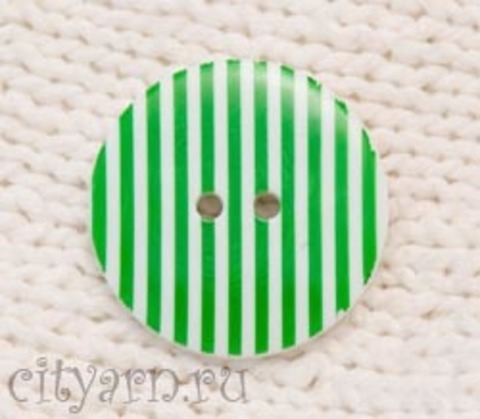 Пуговица полосатая, большая, зелено-белая
