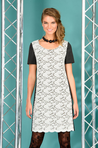 Фото вечернее кружевное платье из контрастной ткани на молнии - Платье З075-212 (1)