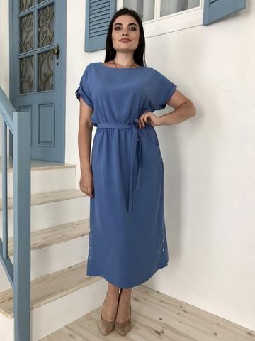 Аріадна. Однотонна гарна сукня великих розмірів. Денім