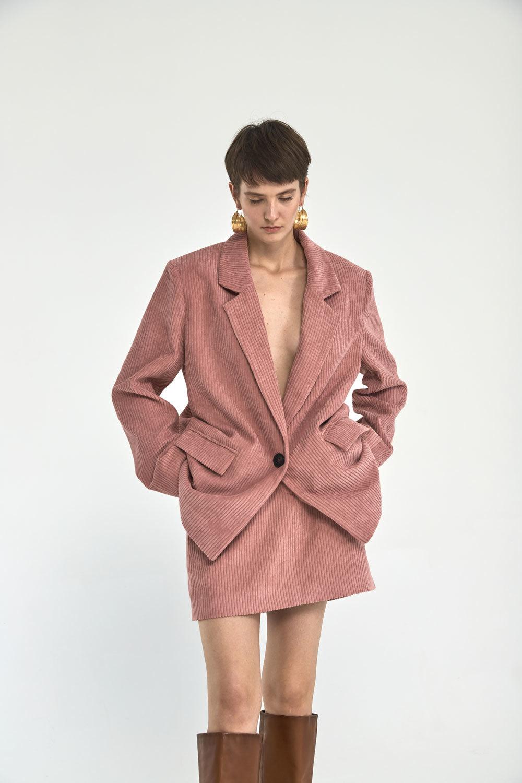 Юбка мини из вельвета с гульфиком, розовая пудра