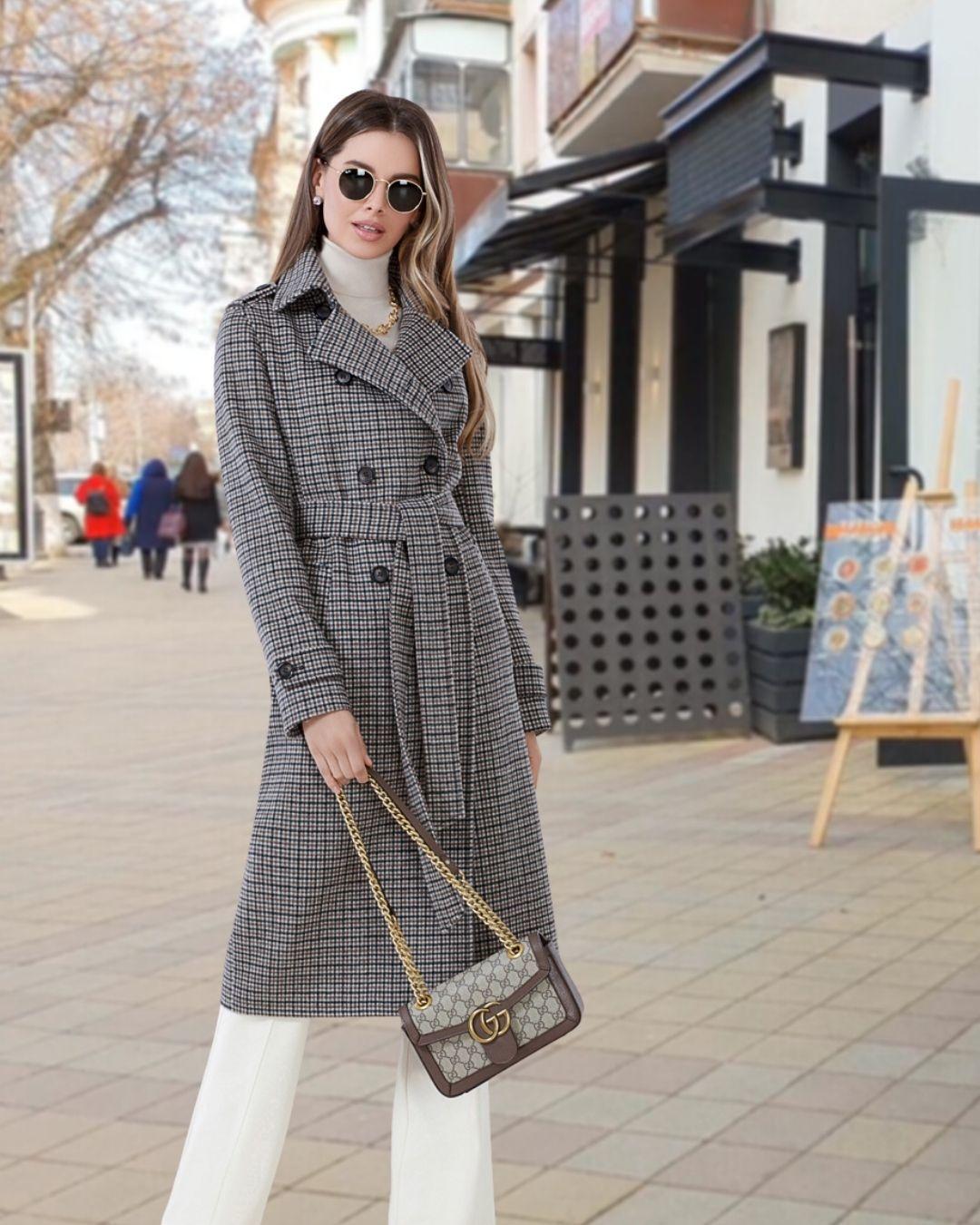 Пальто женское тренч_с_принтом