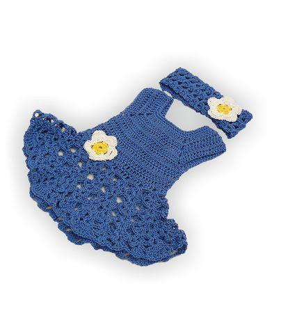 Вязаный сарафан и полоска - Синий. Одежда для кукол, пупсов и мягких игрушек.