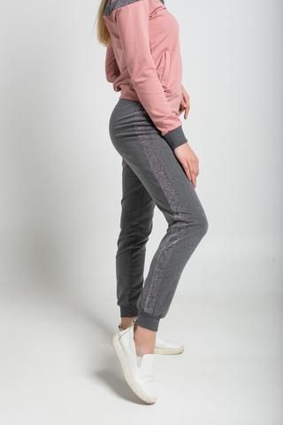 Спортивный костюм женский серо-розовый оптом