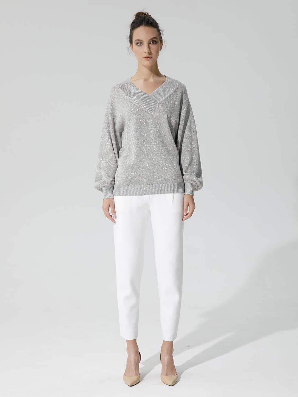 Женские укороченные брюки молочного цвета из вискозы - фото 1