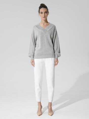 Женские укороченные брюки молочного цвета из вискозы - фото 2